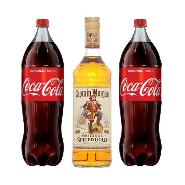 Captain morgan spiced gold 1l + 2x Coca Cola 1,75l